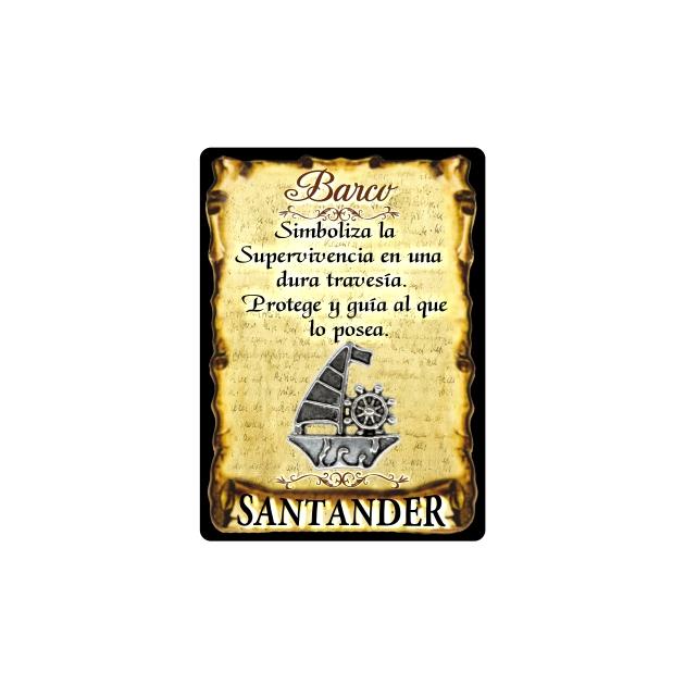 295 040 IMAN GOTA DE RESINA CON BASE DE MADERA 7X5 CM SOUVENIR AMULETO BARCO 1