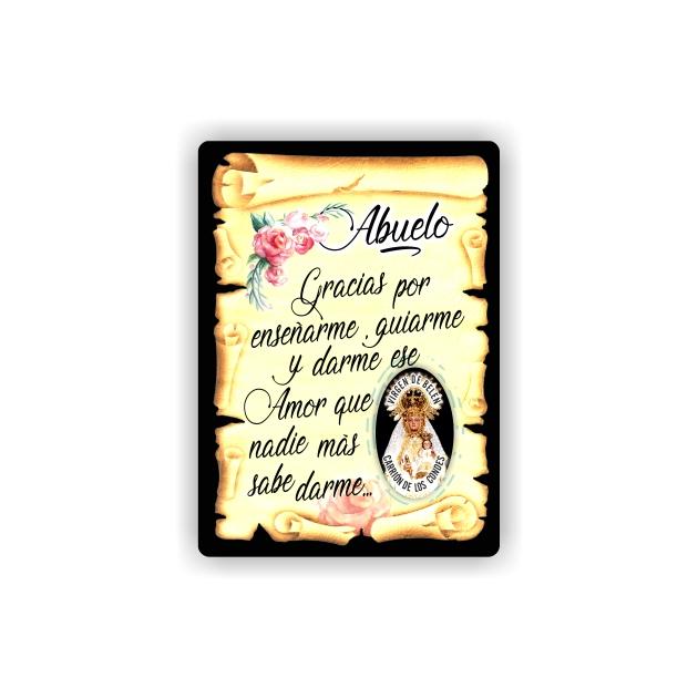 295 049 IMAN GOTA DE RESINA CON BASE DE MADERA 7X5 CM SOUVENIR PERGAMINO FAMILIA ABUELO 1