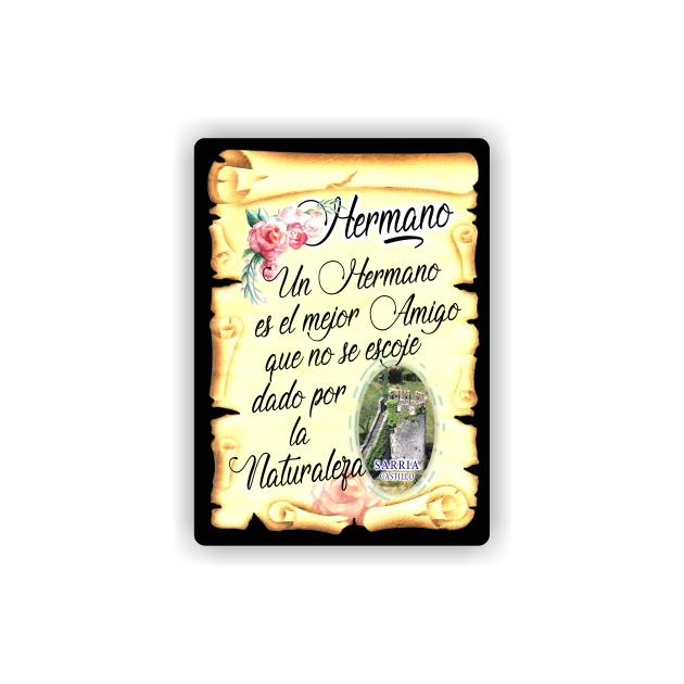 295 052 IMAN GOTA DE RESINA CON BASE DE MADERA 7X5 CM SOUVENIR PERGAMINO FAMILIA HERMANO