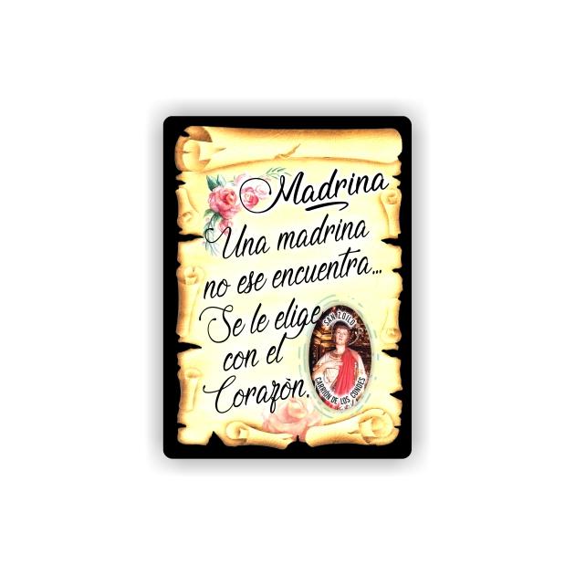 295 055 IMAN GOTA DE RESINA CON BASE DE MADERA 7X5 CM SOUVENIR PERGAMINO FAMILIA MADRINA 1