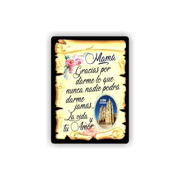 295 056 IMAN GOTA DE RESINA CON BASE DE MADERA 7X5 CM SOUVENIR PERGAMINO FAMILIA MAMA