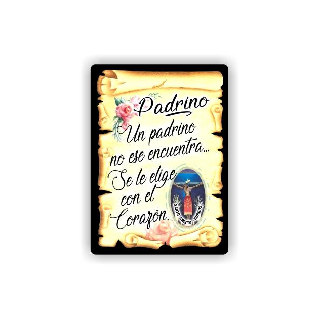 295 060 IMAN GOTA DE RESINA CON BASE DE MADERA 7X5 CM SOUVENIR PERGAMINO FAMILIA PADRINO 1