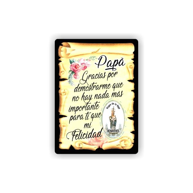 295 061 IMAN GOTA DE RESINA CON BASE DE MADERA 7X5 CM SOUVENIR PERGAMINO FAMILIA PAPA