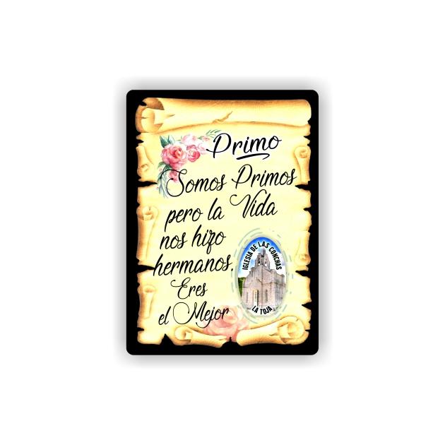 295 063 IMAN GOTA DE RESINA CON BASE DE MADERA 7X5 CM SOUVENIR PERGAMINO FAMILIA PRIMO 1
