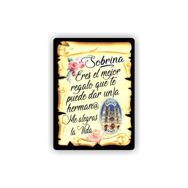 295 064 IMAN GOTA DE RESINA CON BASE DE MADERA 7X5 CM SOUVENIR PERGAMINO FAMILIA SOBRINA 1