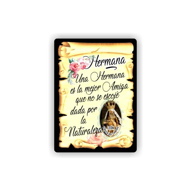 295 069 IMAN GOTA DE RESINA CON BASE DE MADERA 7X5 CM SOUVENIR PERGAMINO FAMILIA HERMANA 1