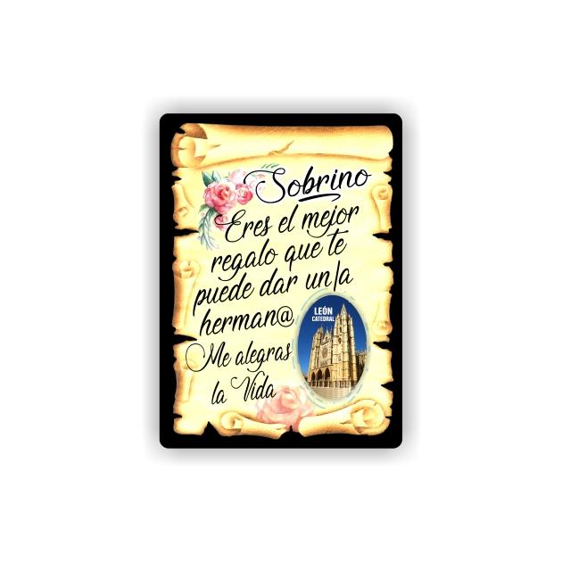 295 070 IMAN GOTA DE RESINA CON BASE DE MADERA 7X5 CM SOUVENIR PERGAMINO FAMILIA SOBRINO 1