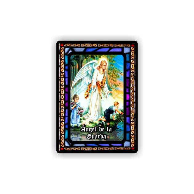 IMAN GOTA DE RESINA CON BASE DE MADERA 7X5 CM 297 ANGEL DE LA GUARDA 105 1