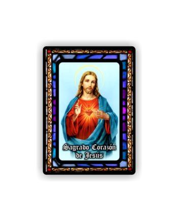 IMAN GOTA DE RESINA CON BASE DE MADERA 7X5 CM 297 SAGRADO CORAZON DE JESUS 104