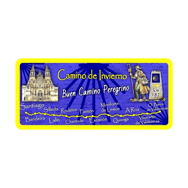 IMAN GOTA DE RESINA CON BASE DE MADERA 9X4 CM SOUVENIR MAPA CAMINO DE INVIERNO 295 155