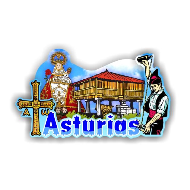 IMAN MADERA SOUVENIR ASTURIAS VIRGEN CRUZ HORREO ESCANCIADOR 200 756