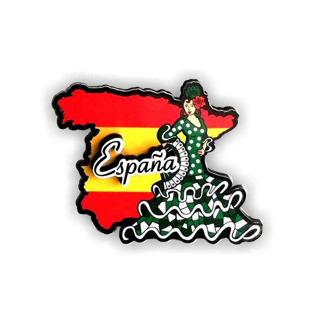 IMAN MADERA SOUVENIR BAILAORA FLAMENCO MAPA DE ESPANA 200 854
