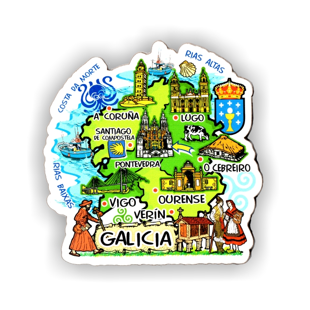 IMAN MADERA SOUVENIR MAPA GALICIA 200 606 1