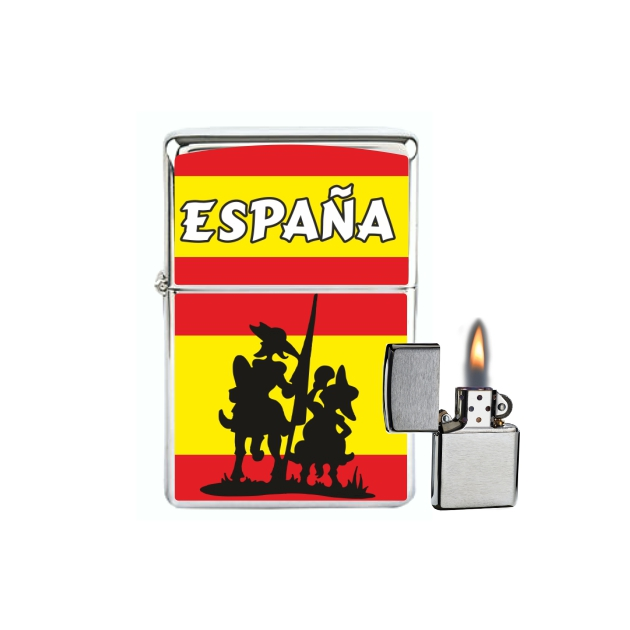 MECHERO GASOLINA TIPO ZIPPO ESPANA BANDERAQUIJOTE 245