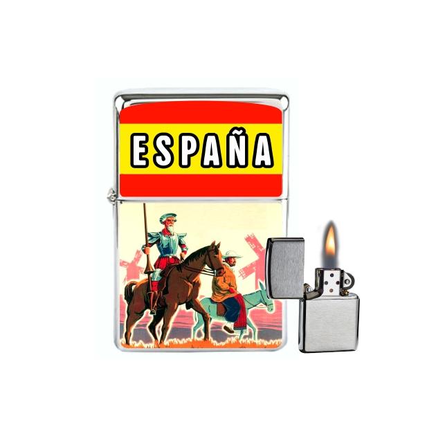 MECHERO GASOLINA TIPO ZIPPO ESPANA BANDERAQUIJOTE COLOR 866