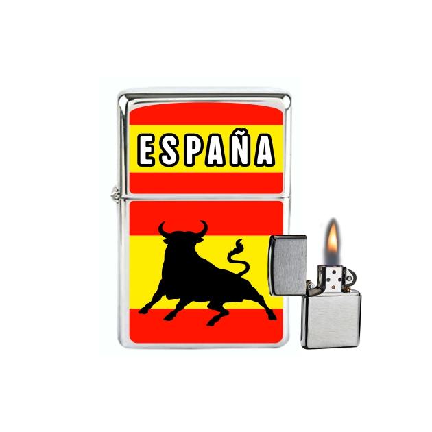 MECHERO GASOLINA TIPO ZIPPO ESPANA BANDERATORO 867