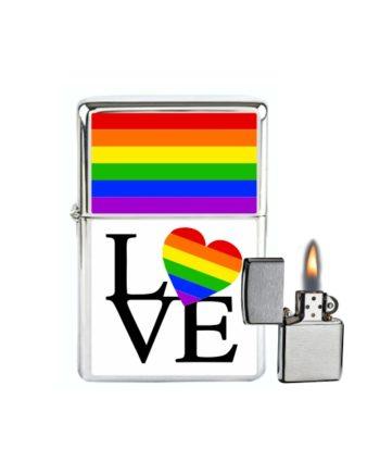 MECHERO GASOLINA TIPO ZIPPO GAY LOVE SOUVENIR 801
