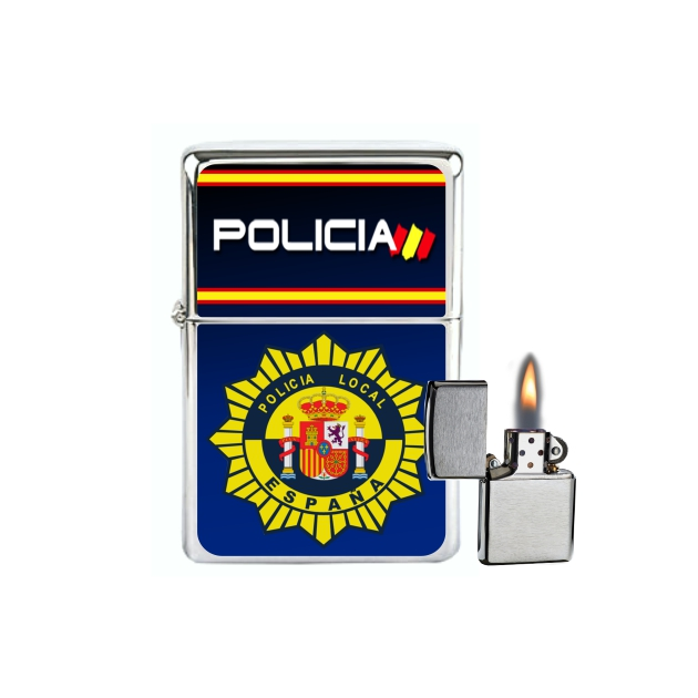 MECHERO GASOLINA TIPO ZIPPO POLICIA LOCAL AZUL 859