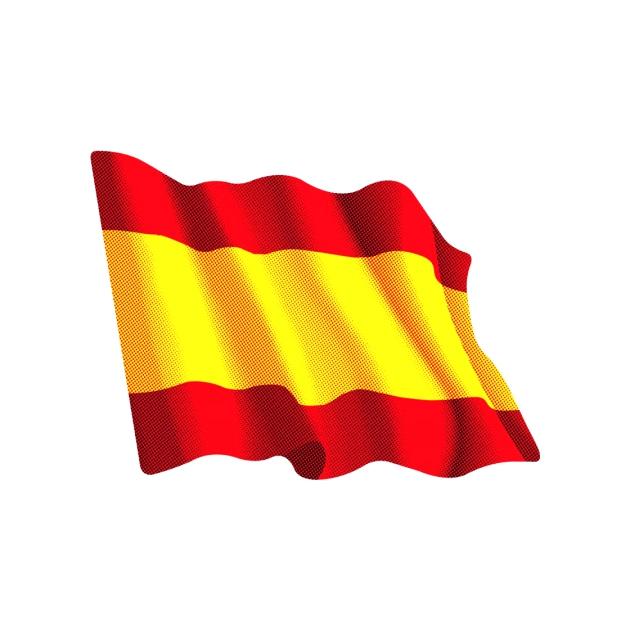 PEGATINA BANDERA ONDEANTE ESPANA LISA 5X6 CM 6X8 CM 8X10 CM 801 3018