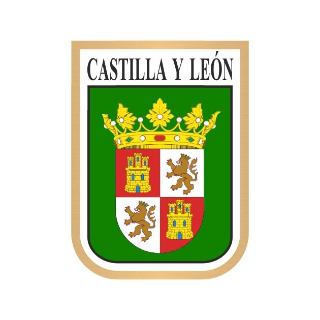 PEGATINA CASTILLA Y LEON GALLETA ESCUDO 7X5 CM 4002