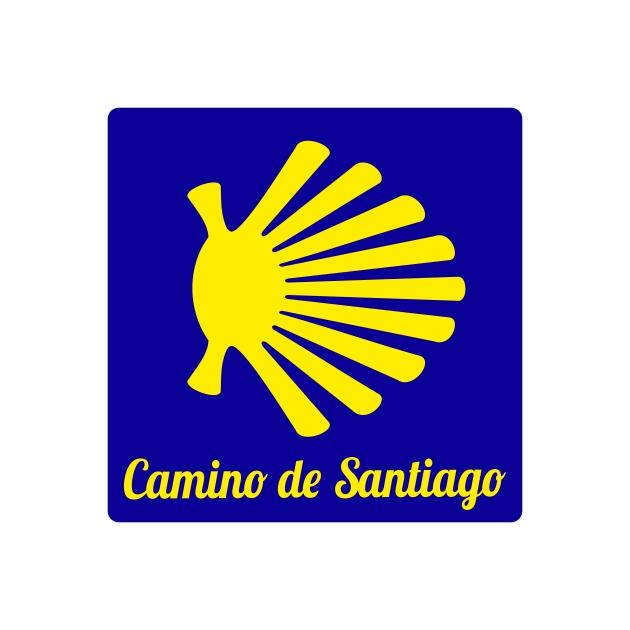 PEGATINA CUADRADA 7X7 CM CAMINO DE SANTIAGO CONCHA 800 1037