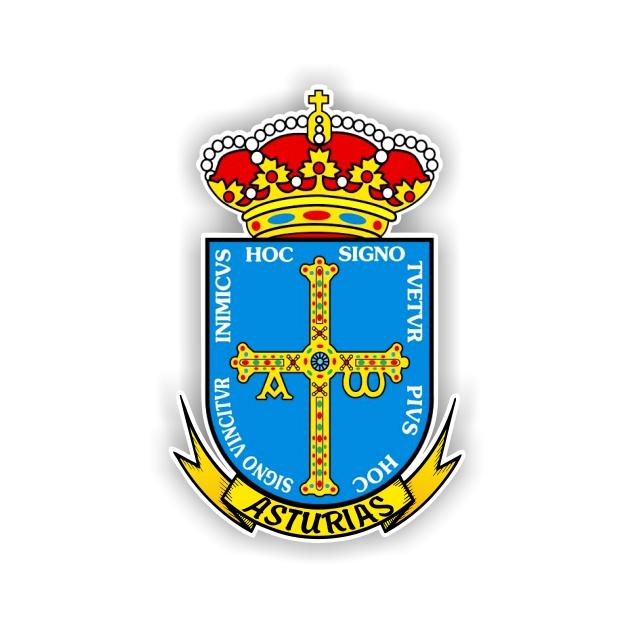 PEGATINA ESCUDO ASTURIAS 8X5CM 800 503