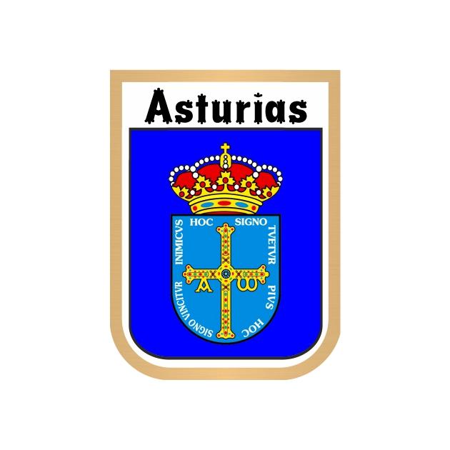 PEGATINA ESCUDO GALLETA ASTURIAS 7X5CM 800 504