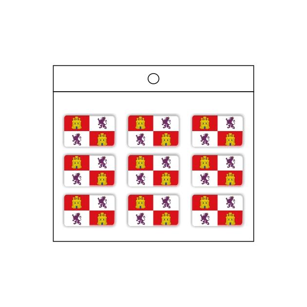 PEGATINA GOTA DE RESINA RECTANGULO CASTILLA Y LEON 9 UND 16 X 11 MM 997 002