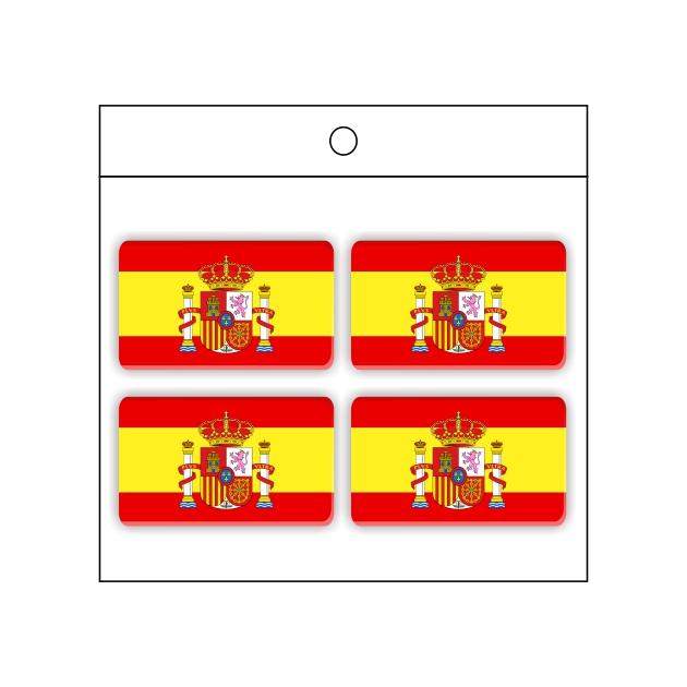 PEGATINA GOTA DE RESINA RECTANGULO ESPANA BANDERA ESCUDO 4 UND 30 X 18 MM 998 018