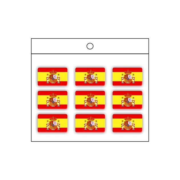 PEGATINA GOTA DE RESINA RECTANGULO ESPANA BANDERA ESCUDO 9 UND 16 X 11 MM 998 019