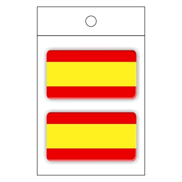 PEGATINA GOTA DE RESINA RECTANGULO ESPANA BANDERA LISA 2 UND 25 X 48 MM 998 020