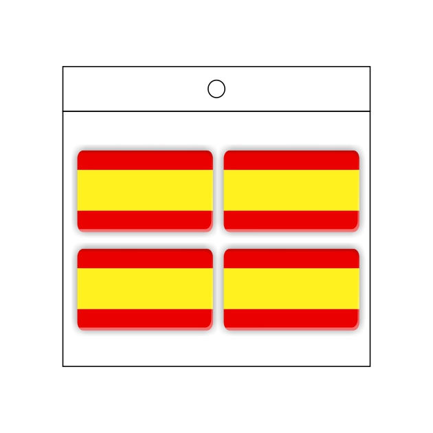 PEGATINA GOTA DE RESINA RECTANGULO ESPANA BANDERA LISA 4 UND 30 X 18 MM 998 021