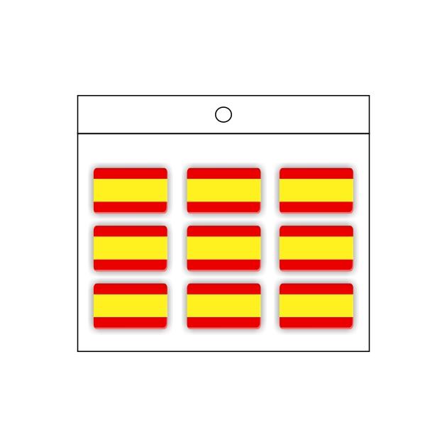 PEGATINA GOTA DE RESINA RECTANGULO ESPANA BANDERA LISA 9 UND 16 X 11 MM 998 022