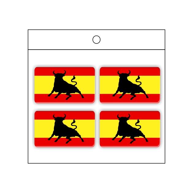PEGATINA GOTA DE RESINA RECTANGULO ESPANA BANDERA TORO 4 UND 30 X 18 MM 998 024