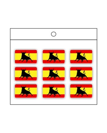 PEGATINA GOTA DE RESINA RECTANGULO ESPANA BANDERA TORO 9 UND 16 X 11 MM 997 006