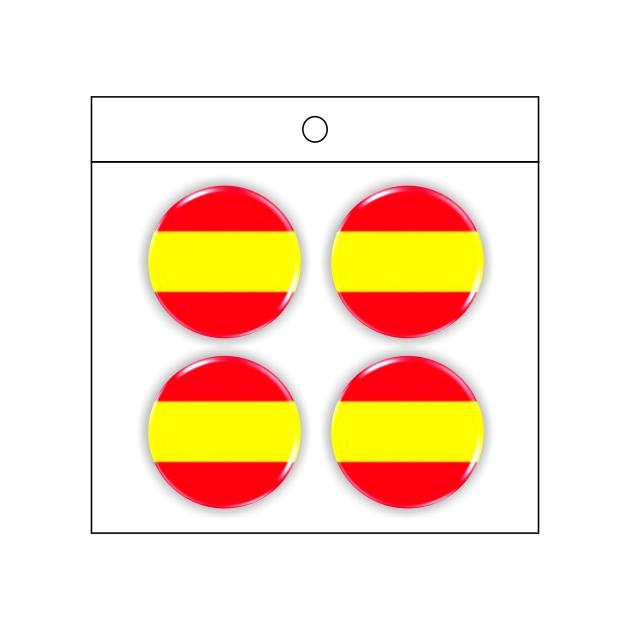 PEGATINA GOTA DE RESINA REDONDA ESPANA LISA 4 UND 20 MM 998 010