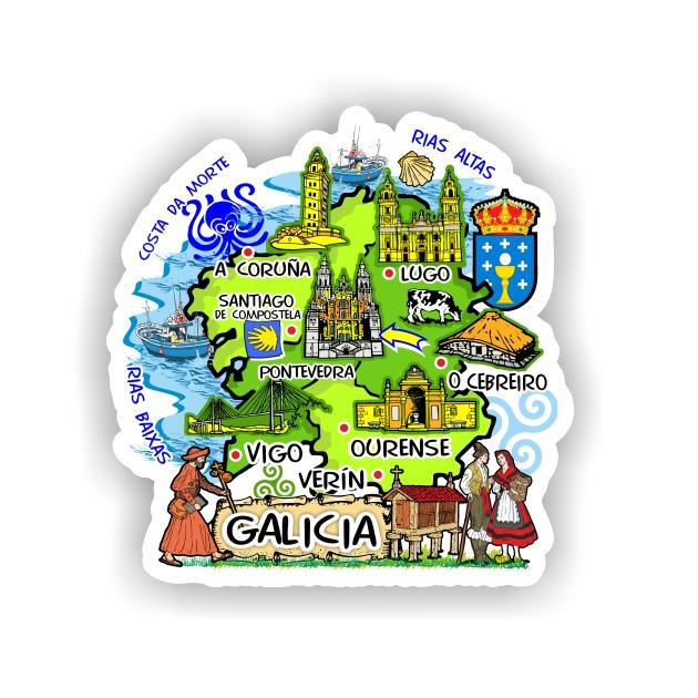 PEGATINA MAPA GALICIA DIBUJO 7X7CM 800 4070