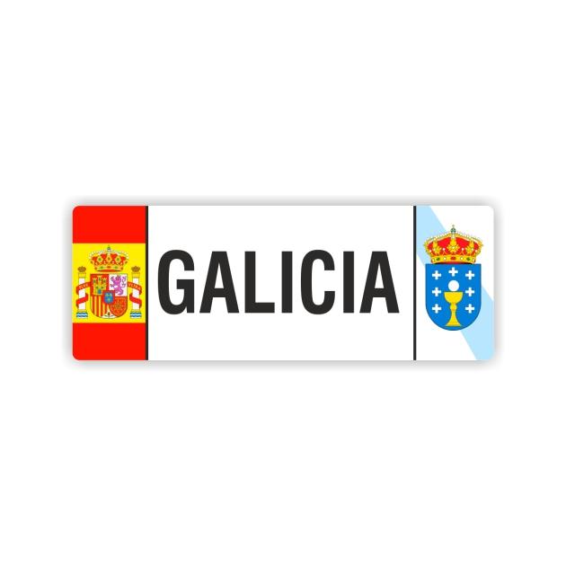 PEGATINA MATRICULA GALICIA ESCUDO ESPANA 12X4 CM 800 1013