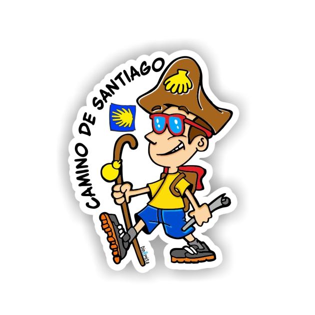 PEGATINA PEREGRINO DIBUJO 8X6 CM CAMINO DE SANTIAGO 800 01 1