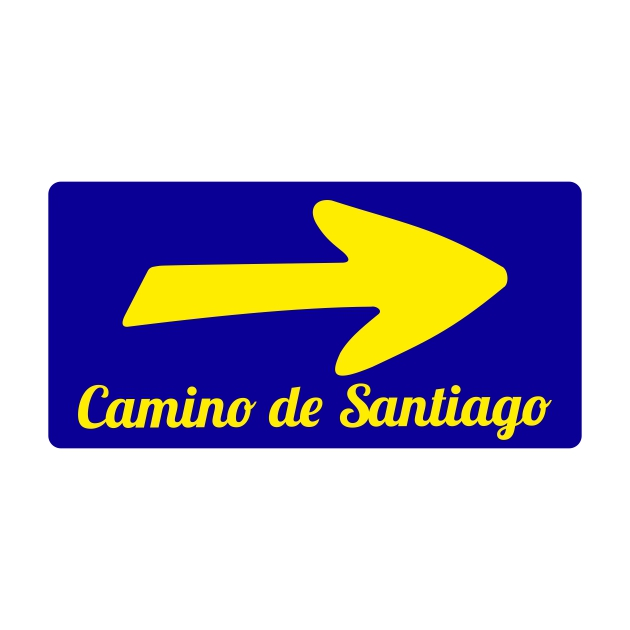 PEGATINA RECTANGULAR 10X5 CM CAMINO DE SANTIAGO FLECHA 800 1036