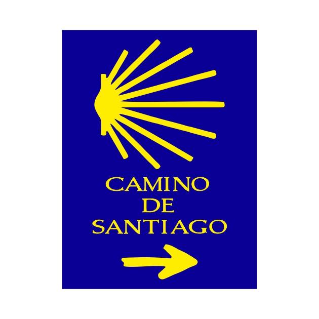PEGATINA RECTANGULAR 8X6 CM CAMINO DE SANTIAGO CONCHA 800 1032