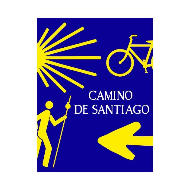 PEGATINA RECTANGULAR 8X6 CM CAMINO DE SANTIAGO PEREGRINO BICI CONCHA 800 1033