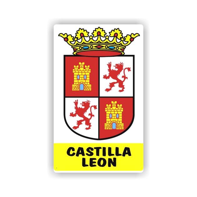 PEGATINA RECTANGULAR CASTILLA Y LEON ESCUDO 8X5 CM 4003