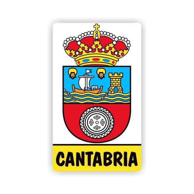 PEGATINA RECTANGULAR ESCUDO CANTABRIA 8X5 CM 800 522