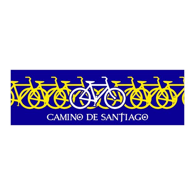 PEGATINA RECTANGULAR LARGA 13X4 CM CAMINO DE SANTIAGO BICIS 800 1042